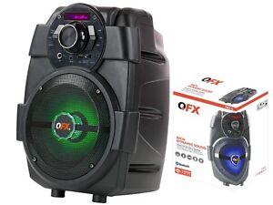 QFX-PBX-5-6-5-034-Rechargeable-PA-Speaker-Bluetooth-USB-AUX-FM-RGB-LED-Light