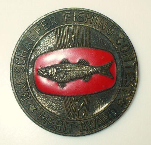 VINTAGE ancien pêche PIN R.J. Schaefer pêche concours Merit Award