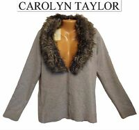 Sz L Carolyn Taylor Grey Removible Fur Button Front Women's Cardigan Sweater