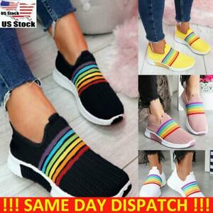 Women-Slip-On-Striped-Knit-Walking-Sock-Shoes-Running-Trainers-Gym-Sneakers-Size