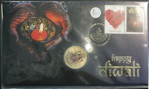 2017 Australia PNC $1 UNC Coin Happy Diwali Stamp and Coin Cover