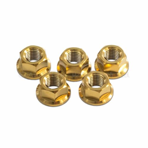 5x Titanium Rear Sprocket Nuts Gold Yamaha YZF R6 1998-2017 M10x 1.25