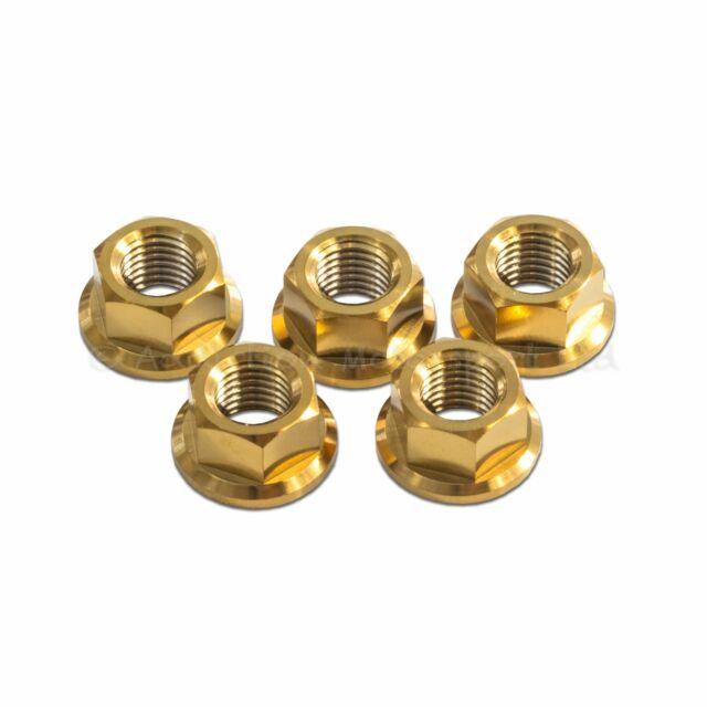 5x Suzuki GSXR1000 K1 K2 K3 K4 Gold M10x 1.25 Titan rear sprocket nuts