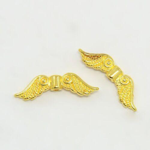 2064 20 Stück Flügel 23x7mm Gold Perlen Engelsflügel Flügelperlen Engel