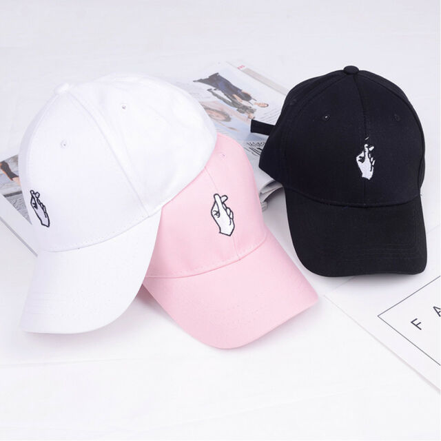 Embroidered Heart Gesture KoreaStyle Peaked Cap Love Finger Baseball Hat Cap