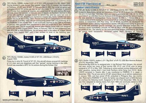 Imprimé échelle 48160 DECALS 1//48 Navy Grumman F9F-2//F9F-3 Panthers Over Korea