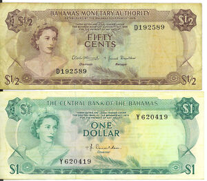 Bahamas-Lot-of-2-Notes-1-One-Dollar-50-Cents-1974-1968-Condition-as-per-Image