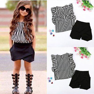 2PCS Kids Baby Girls Loose Sleeveless Tops T-shirt Striped Long Pants Outfits