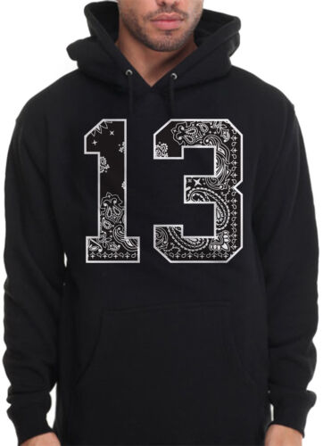 Men/'s 13 Bandana Print Hoodie Sweatshirt South Side LA Los Angeles Cholo OG Loc