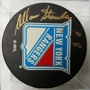 ALLAN-STANLEY-HOF-SIGNED-NEW-YORK-RANGERS-NHL-PUCK-STICKER-COA-ON-PUCK-SMEARED