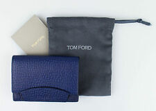NWT TOM FORD Sapphire Blue 100% Pebbled Leather Envelope Card Holder Wallet $250