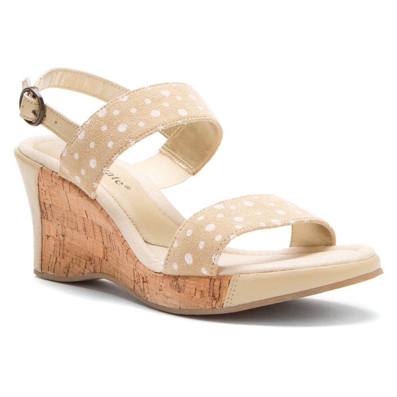 NIB David Tate Women's Rome LEATHER Wedge Sandals TAN BEIGE POLKA DOT 10.5 M