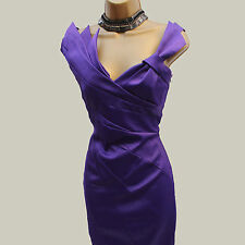 KAREN MILLEN Purple Satin Folded Cocktail Wiggle Pencil Cruise Races Dress 10 UK