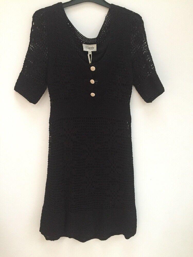 Alice Temperley schwarz Tea Tunic Crochet Lined Dress BNWT UK10 US6 RRP
