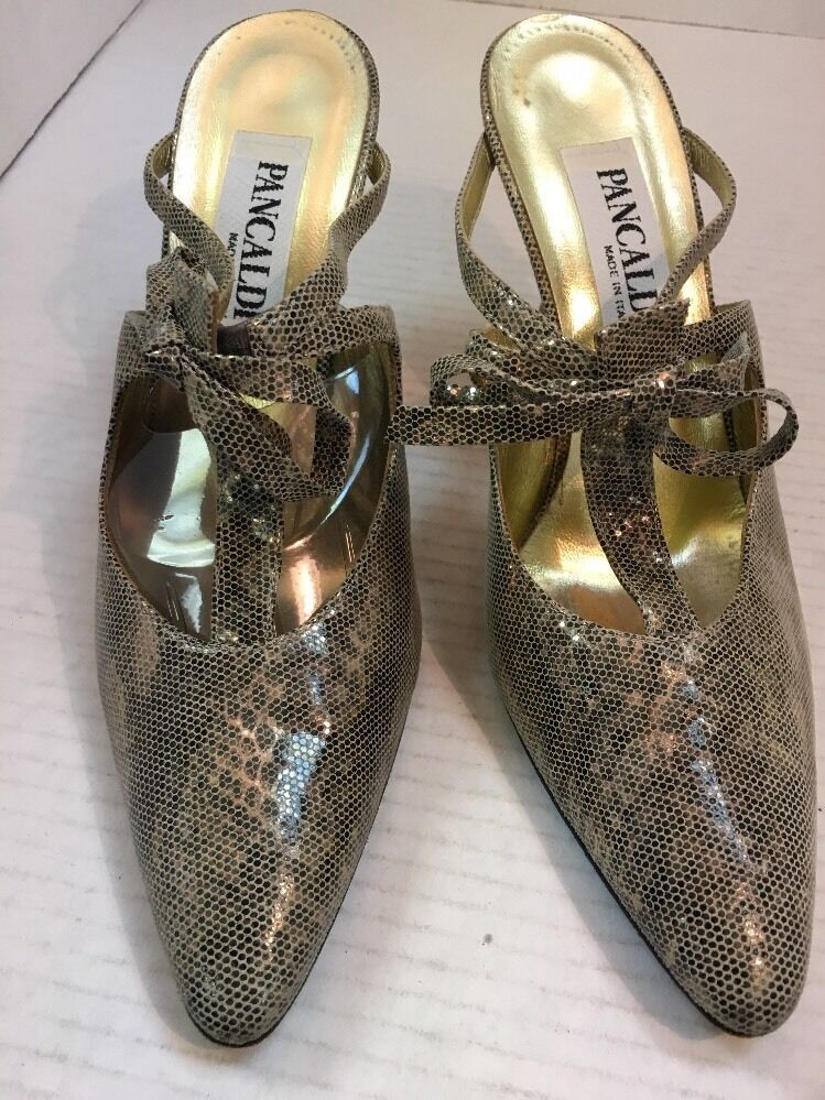 PANCALDI Gold Mules with Bow Größe 8 MSRP 258.