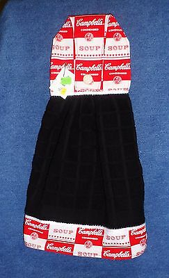 **NEW** Handmade Campbell/'s Soup Cans Black Hanging Kitchen Hand Towel #1558