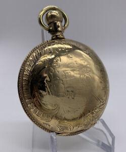 Vintage Rockford Pocket Watch c.1893 18s 11j Gr. 69 Train Hunter Gold Fill Case