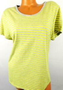 Hanes-grey-yellow-striped-women-039-s-plus-size-short-sleeve-scoop-neck-top-2XL