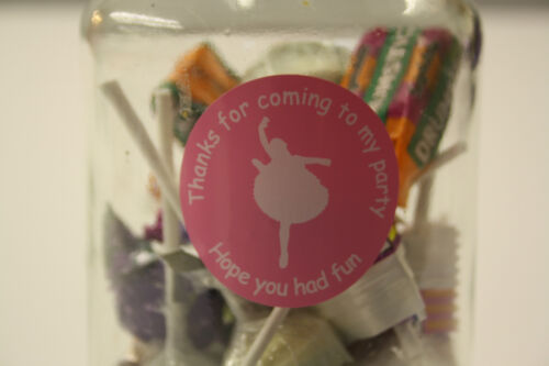 125-xx Ballerina Party Bag Thank You Stickers 24 Pink Or Red