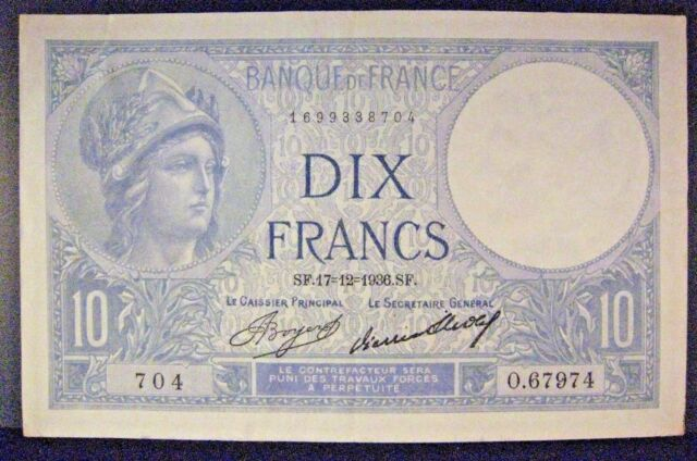 1936 France Bank Of 10 Francs Pleasant Note Free U S Shipping
