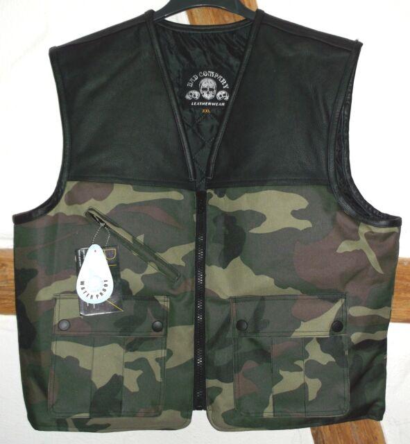 "Company Leatherwear Club Kutte""Bad Co.TEX""Camouflage/black Leder/Textilmix Weste"