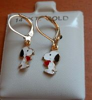 14k Gold Filled Snoopy Dangle Earrings Kids Girls Child Usa Quality