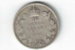 CANADA-1908-TEN-CENTS-DIME-KING-EDWARD-VII-STERLING-SILVER-COIN-CANADIAN