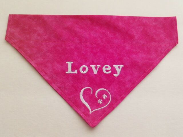 2 PAWS in a Heart PERSONALIZED CUSTOM EMBROIDERED Pets Name Slide On Dog Bandana