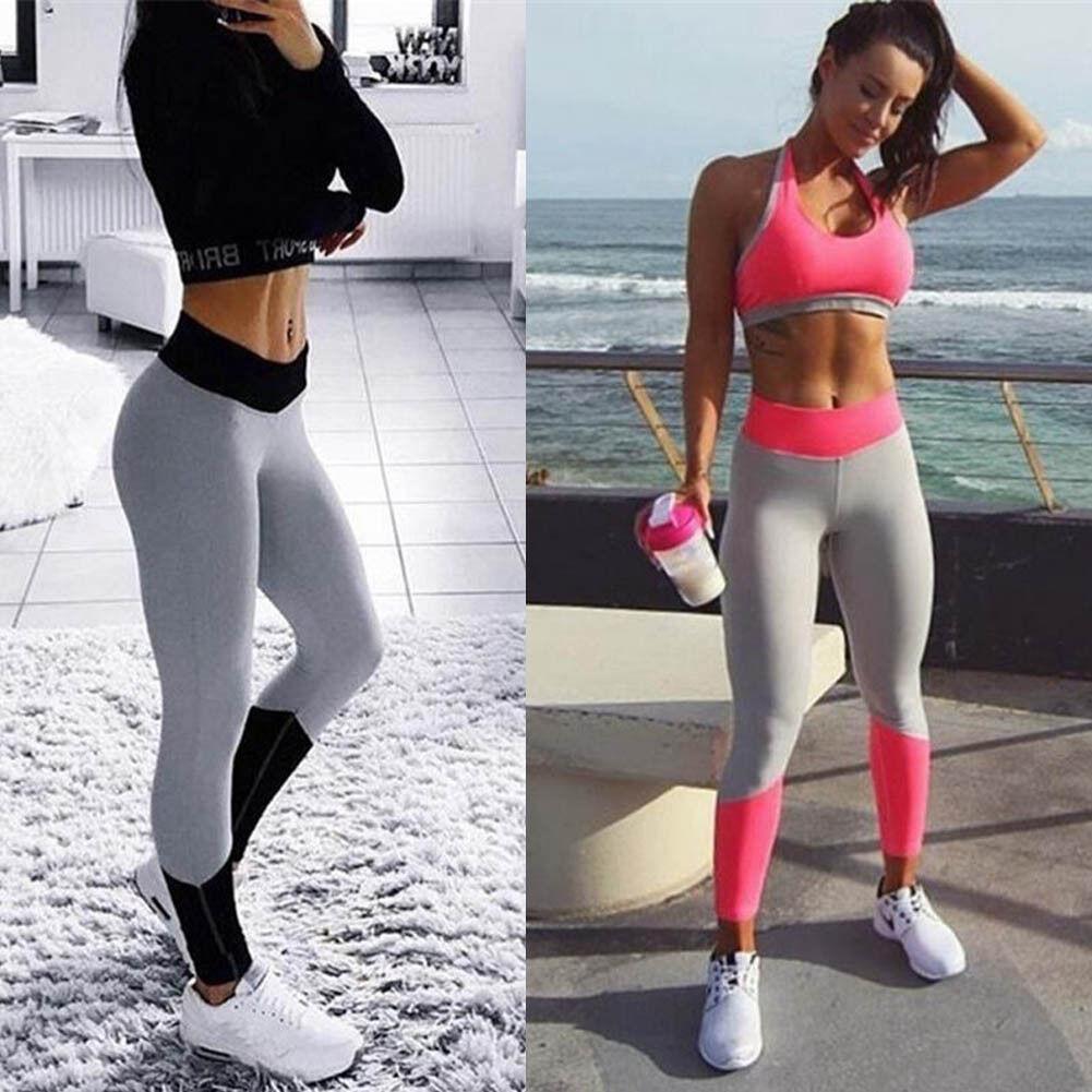 Women Yoga Fitness Leggings Running Gym Stretch High Waist Pants Trousers