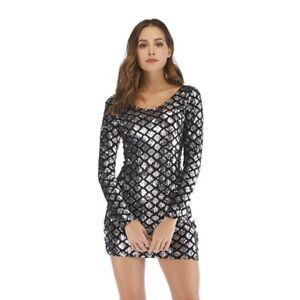 Women-Club-Bodycon-Slim-Long-Sleeve-Sequin-Nightclub-Party-Mini-Dress