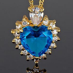 Damen-Schmuck-18K-Gold-Vergoldet-Herz-Aquamarin-Geschenk-Anhaenger-Halskette