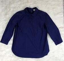 Wilfred Aritzia small open back peter pan collar 3/4 sleeve blouse top navy blue