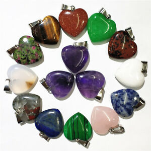 Wholesale Charm Natural Heart Shape Stone Bead Reiki Chakra Pendant For Necklace