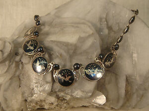 VINTAGE-STERLING-SILVER-SIAM-NECKLACE-ENAMELED-DANCER-MID-CENTURY-BEAD