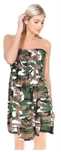New Ladies Boobtube Sheering Bandeau Strapless Printed Top Dress 8-26