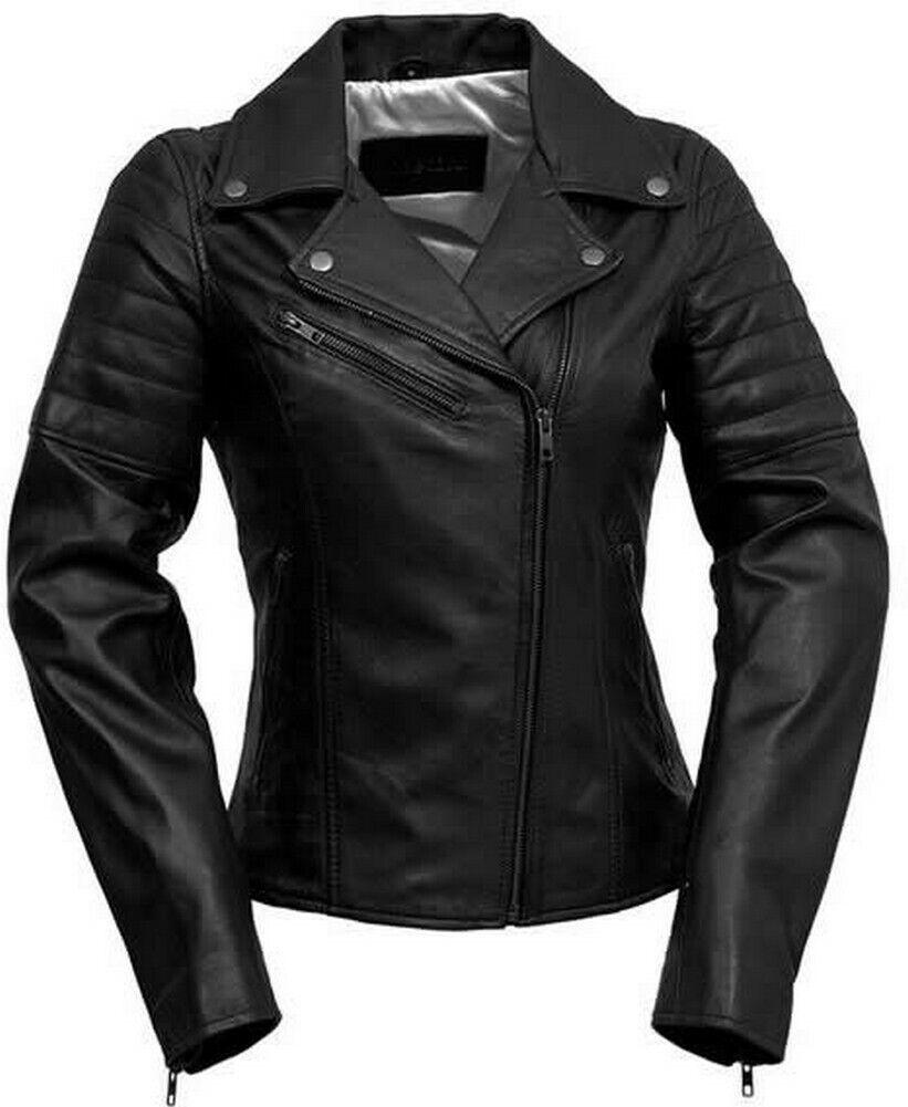Whet-Blu PRINCESS - Leather Slim-Fit Motorcycle Style Jacket - Black - Medium
