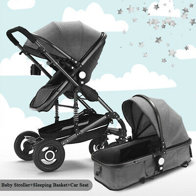 Baby pram Car Seat Carrycot Travel System 3in1 Pushchair Combi Buggy From Birth