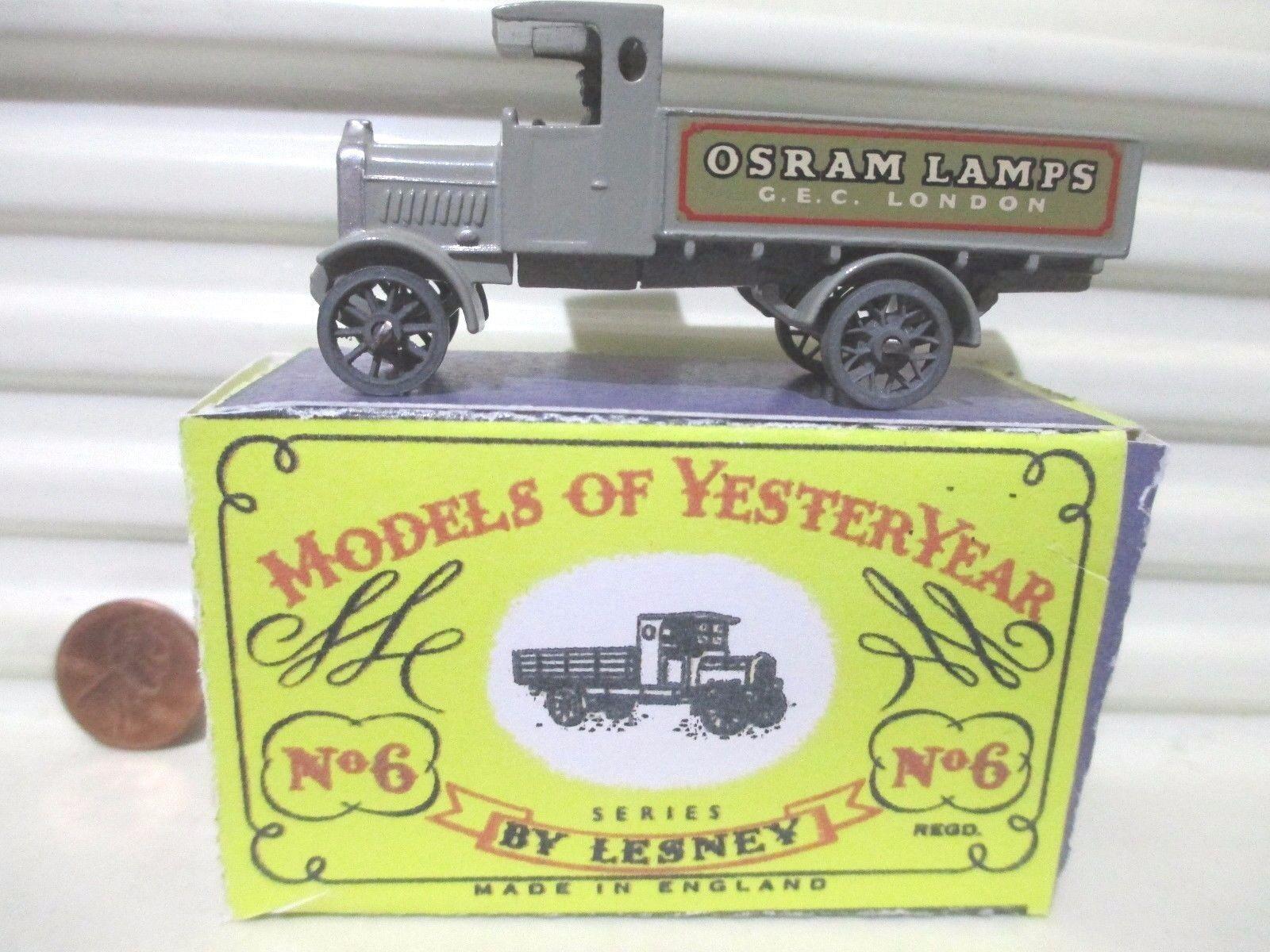 Lesney Matchlåda Yesteryear Y6A OSRAM LAMPS 1916 ljus GREE AEC LORRY XUERAD låda