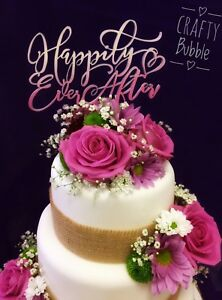 Happily-ever-after-wooden-cake-topper-hand-made-wedding-anniversary-ANY-COLOUR