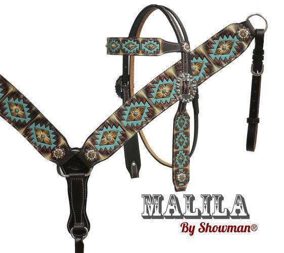 Showman   Mapurple  headstall and breast collar set with Navajo diamond design