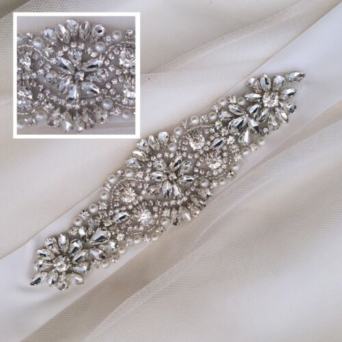 Diamante Pearl Rhinestone Bridal Belt LILY Bridal Sash Wedding Dress Sash