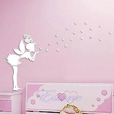 New Silver Mirror Stlye Angel Removable Decal Vinyl Art Wall Sticker Home Decor