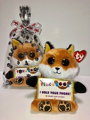 """TY SLY FOX 3 1//2/"""" PEEK-A-BOOS SMART PHONE HOLDER IN CELLO-NEW WITH TAG-FUN"""