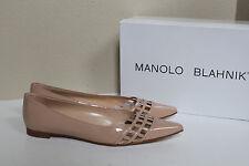 New  sz 9 / 39 Manolo Blahnik BB Jabi Nude Patent Leather Pointed Toe Flat Shoes