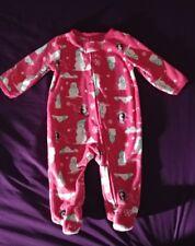 2aeae0f94 Carter's Pink Penguin & Snowman Fleece Sleeper Pajamas Infant Baby Girl ...