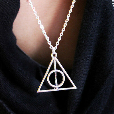 Hot Sale,Antique Silver Harry Potter The Deathly Hallows Necklace Pendant Charm