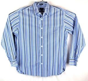 half off really comfortable best online j. crew mens medium 15 - 15.5 blue striped button up long sleeve ...