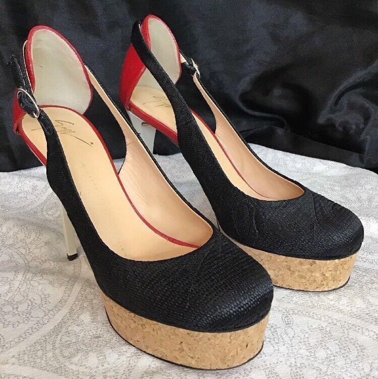 Sconto del 70% Giuseppe Zanotti scarpe scarpe scarpe nero Fabric rosso And bianca Patent Cork Platform Dimensione 37  solo per te