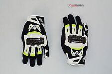 Alpinestars SMX-2 Air Carbon V2 Leather Street Motorcycle Glove-BLK/YLW-MEDIUM