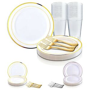 Includes 9 Buffet Plates Wedding /& Party Supplies Metallic Swirl Design Disposable Plastic Buffet Party Package Forks and 7oz Tumblers